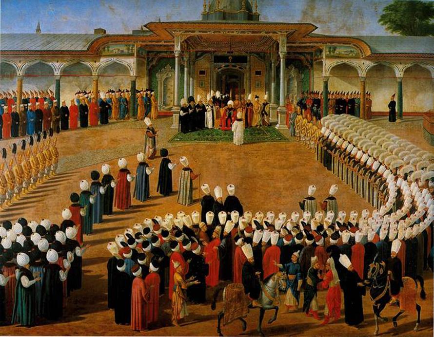 تتويج سليم الثالث عام 1789، رسم قسطنطين كابيداغلي يوليوس (متحف توبكابي) اضغط للتكبير