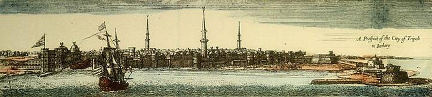 Skyline of Tripoli in Ottoman times, engraving by John Seller (1675)