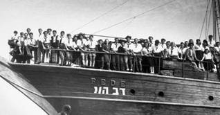 Jewish survivors of World War II arriving in the port of Haifa in 1946