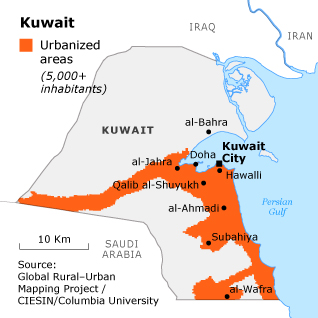 geography kuwait - urbanisation map