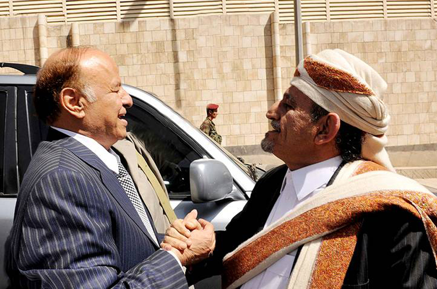 President Hadi meets Sheikh Sadiq al-Ahmar (leader of the Hashid tribal federation and al-Islah tribal confederacy) outside the presidential office in 2012