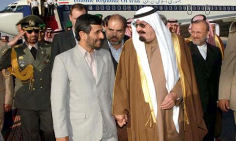 Former Iranian President Mahmoud Ahmedinejad and Saudi King Abdullah during Ahmedinejad's first visit to Saudi Arabia in 2007