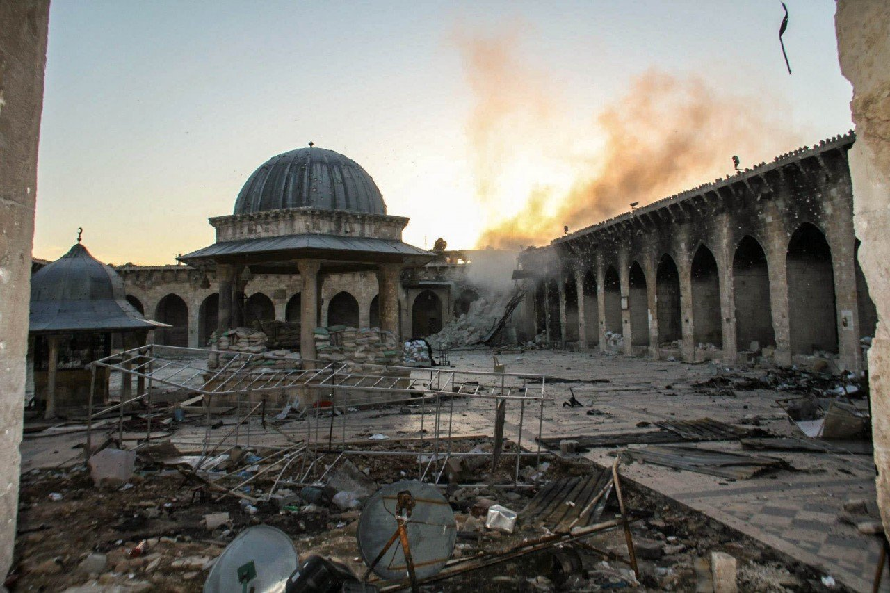 Syria's Cultural Heritage - Historic minaret of the Great Umayyad Mosque destroyed in Aleppo