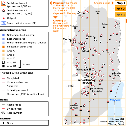 Several interactive maps and graphics, showing the spread of Jewish settlements throughout the West Bank since 1967,and the increase in the number of Jewish settlers