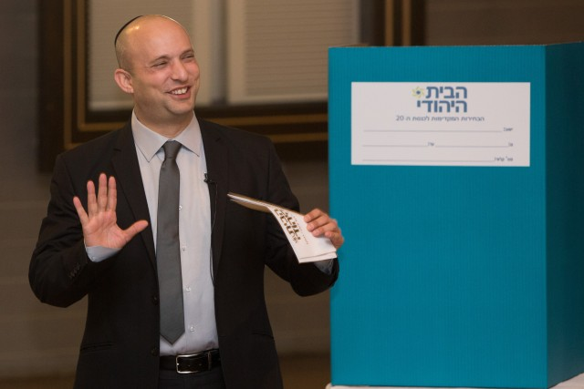JERUSALEM, Jan. 14, 2014 -- Israeli Economy Minister and the leader of the Jewish Home party Naftali Bennett attends the party's preliminary elections in Jerusalem, (Xinhua/JINI)