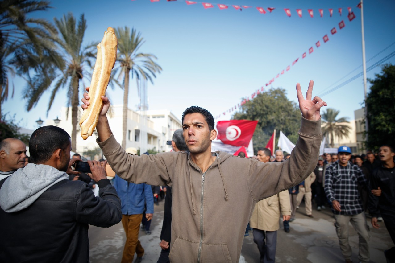 Economy Tunisia - 27 Nov 2013, Gafsa, Tunisia --- Gafsa, Tunisia. 27th November 2013 -- A man is raising a vict. --- Image by © Chedly Ben Ibrahim/Demotix/Corbis