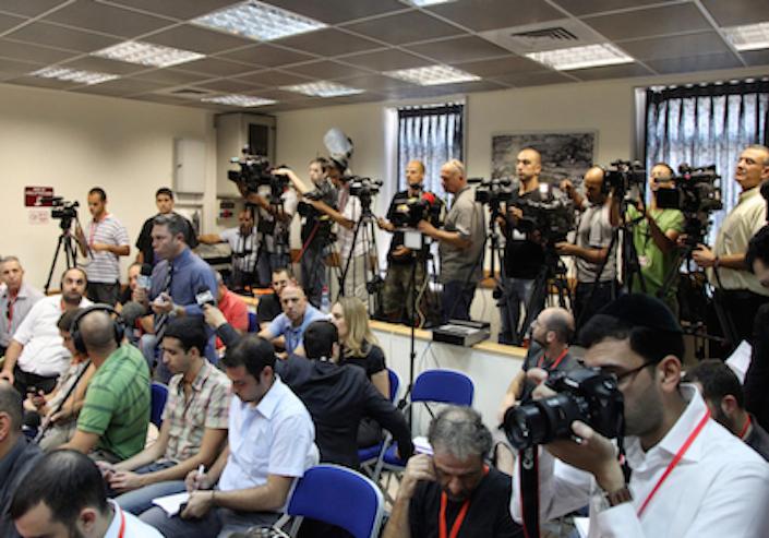 مؤتمر صحفي في مكتب رائيس الوزراء في القدس، 26 يوليو 2011٫ Photo Times of Israel/ Mark Israel Sellem/Flash90.