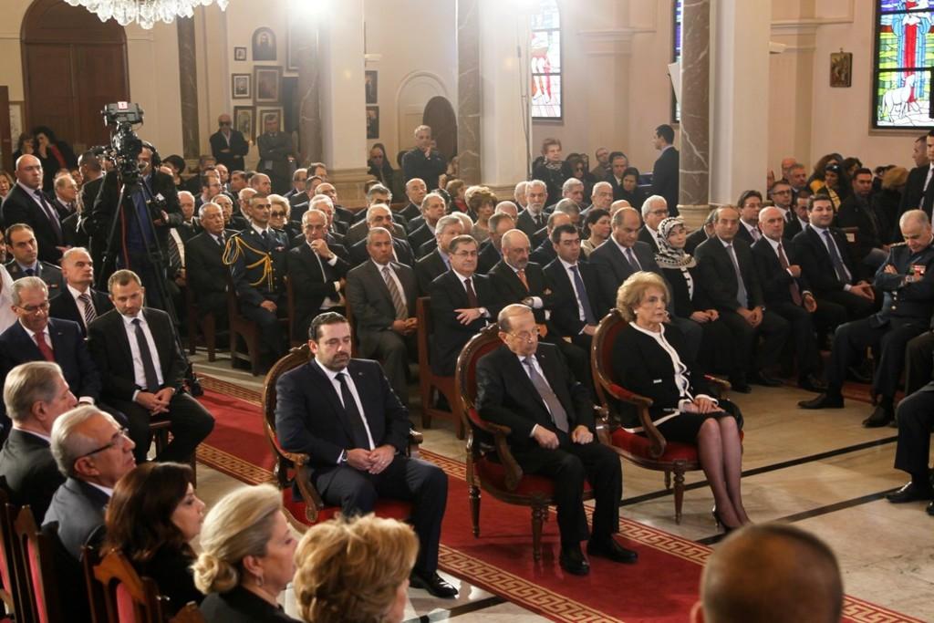Michel-Aoun-his-wife-Nadia-Al-Chami-and-Ministe-Saad Hariri