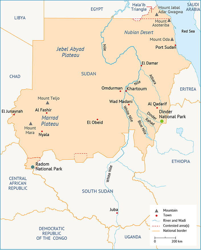 Sudan geography state borders