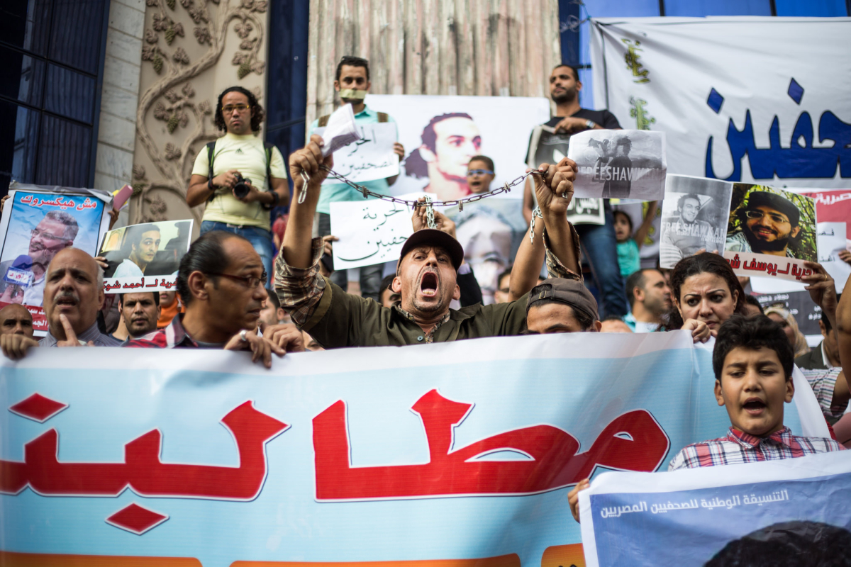 egypt new antiterror law journalists protest