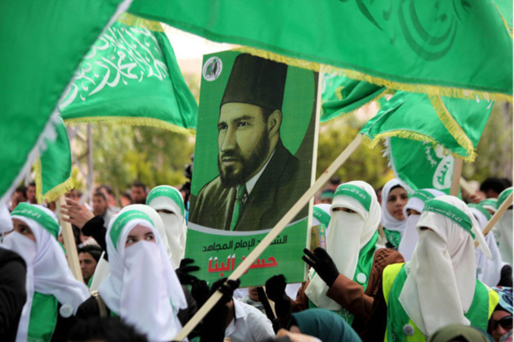 Hamas-supporters-carrying-photo-of-Hassan-Al-Banna