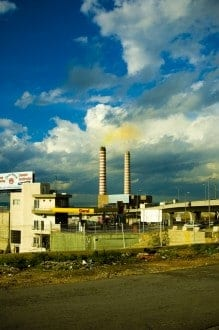 pollution in Lebanon chimneys of a power plant
