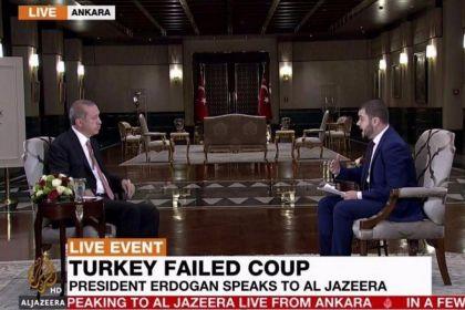 Turkey coup erdogan live interview with al-jazeera